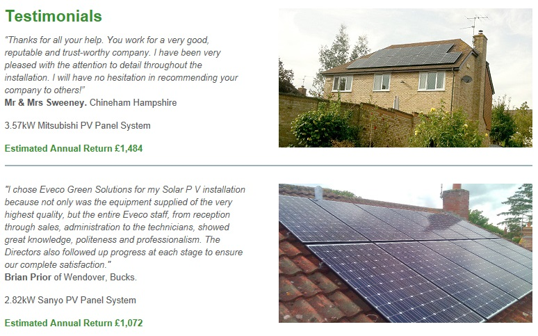 Solar PV Customer reviews