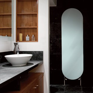 glass radiator in bathroom